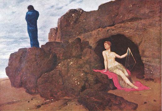 Oli sobre llenç d'Arnold Böcklin: Odisseu i Cal·lipso (Odysseus und Kalypso, 1883)