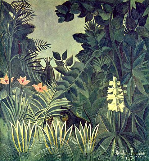 Meisterwerke online de dschungel am quator henri for Dschungel malen