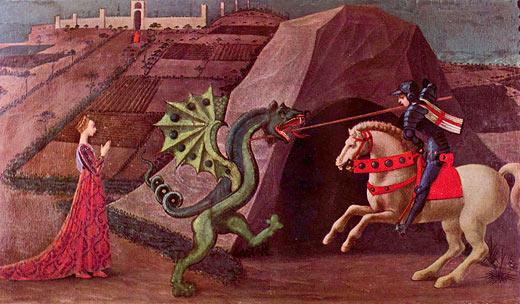 St. Georg und der Drache (Truhenbild?)