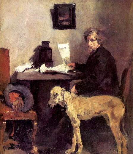 meisterwerke online de der maler sattler mit seiner dogge wilhelm maria hubertus leibl. Black Bedroom Furniture Sets. Home Design Ideas